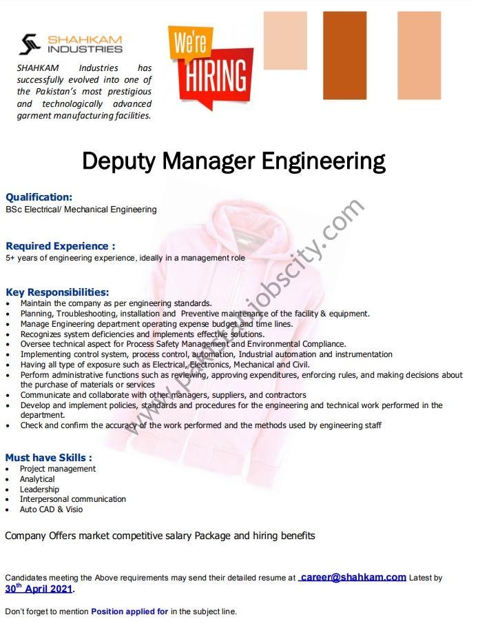 Shahkam Industries Pvt Ltd Jobs Deputy Manager Engineering