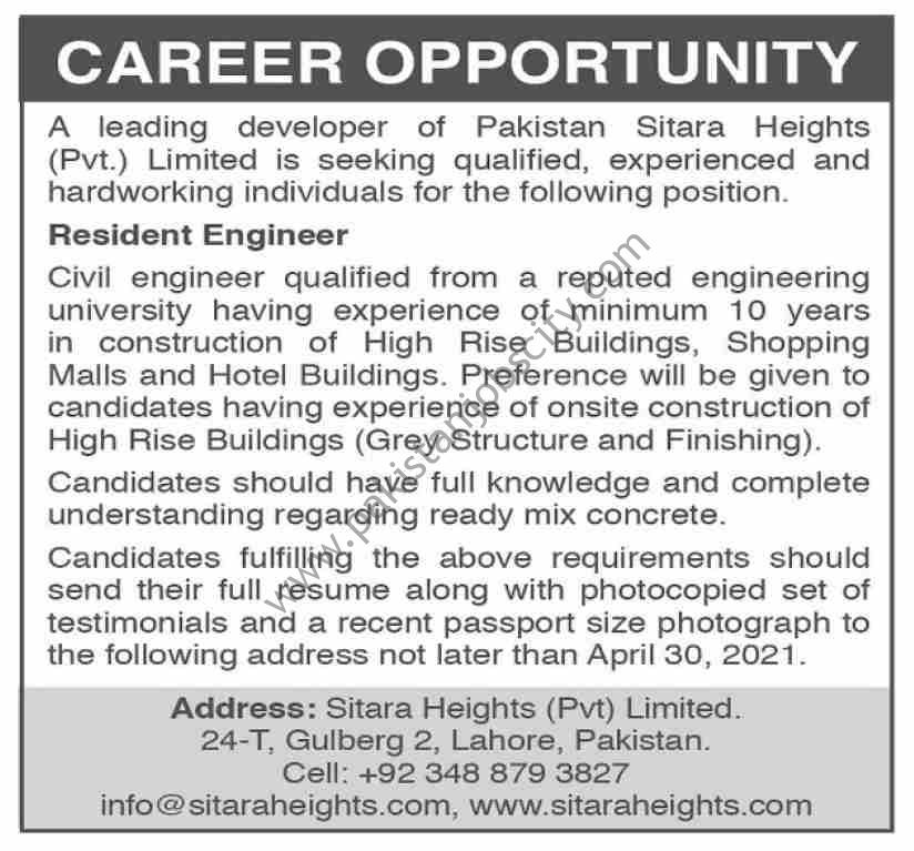 Sitara Heights Pvt Ltd Jobs Resident Engineer