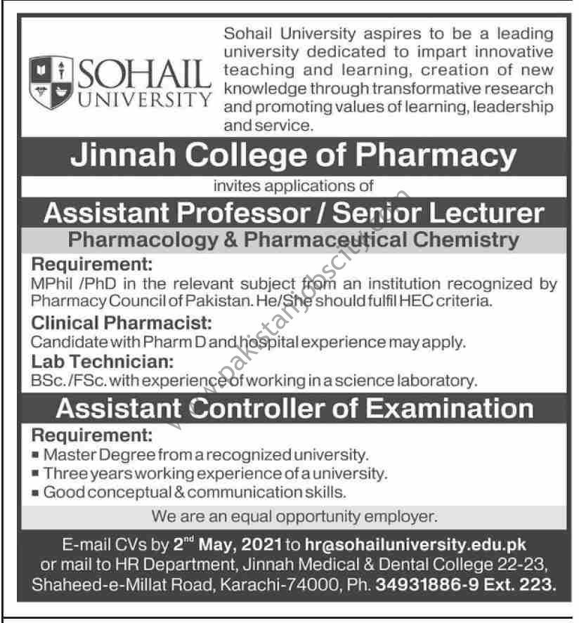 Sohail University Jobs April 2021
