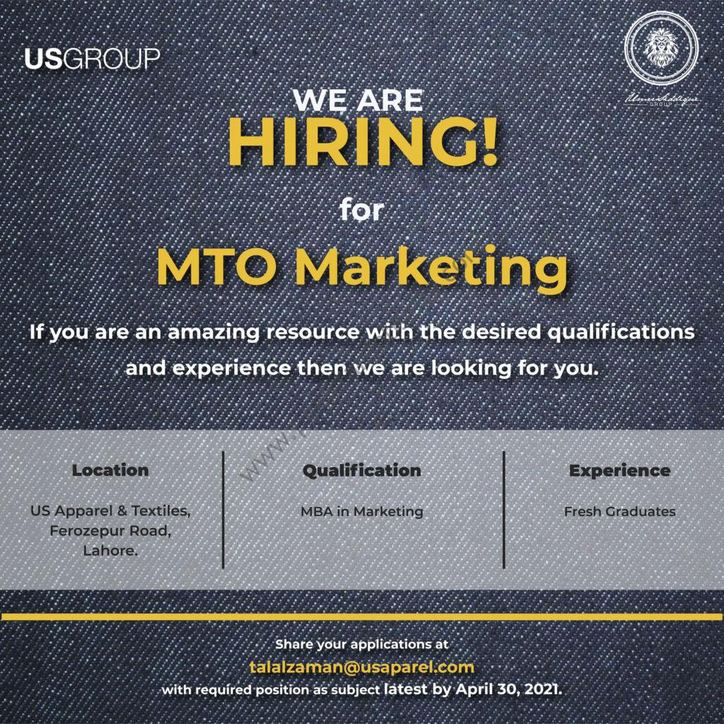 US Group Jobs MTO Marketing