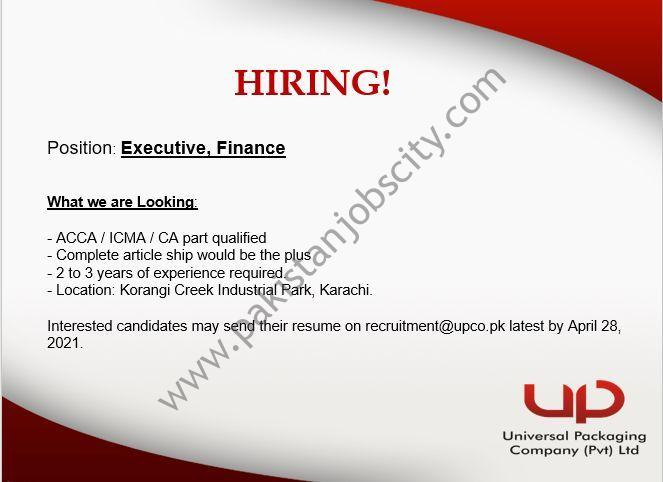 Universal Packaging Company Pvt Ltd Jobs Executive Finance