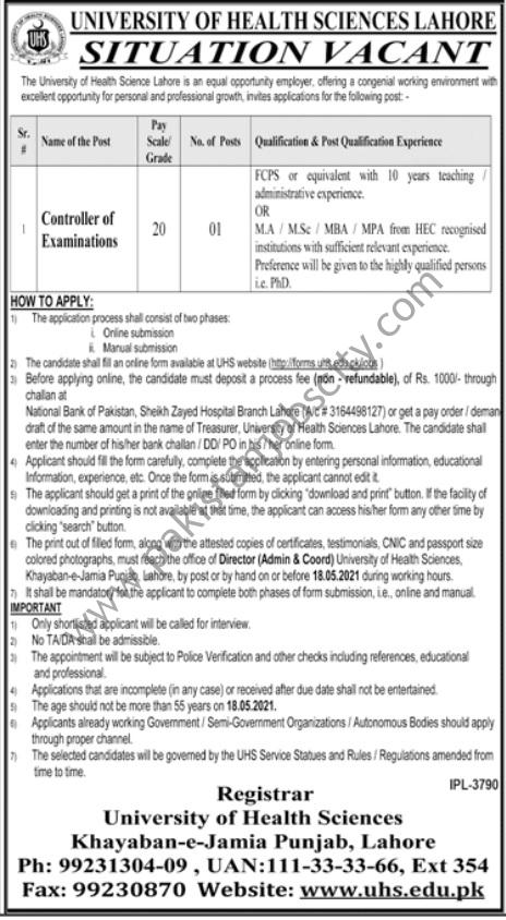 University Of Health Sciences Jobs Controller of Examinations