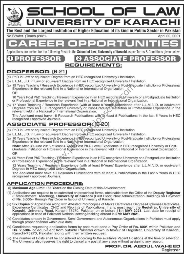 University of Karachi Jobs April 2021