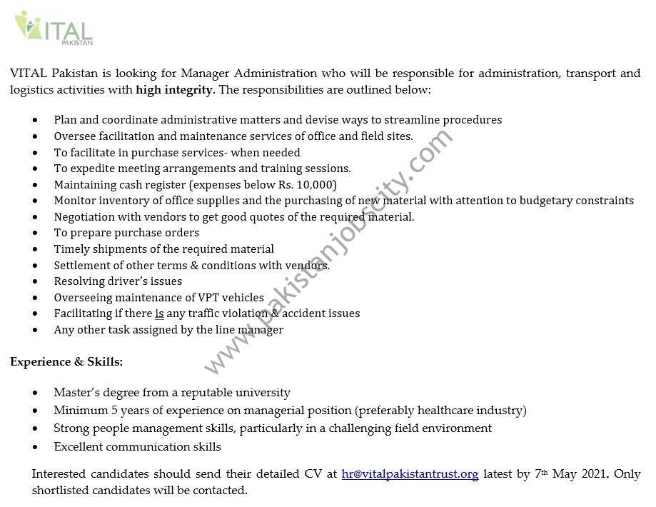 Vital Pakistan Jobs Manager Administration