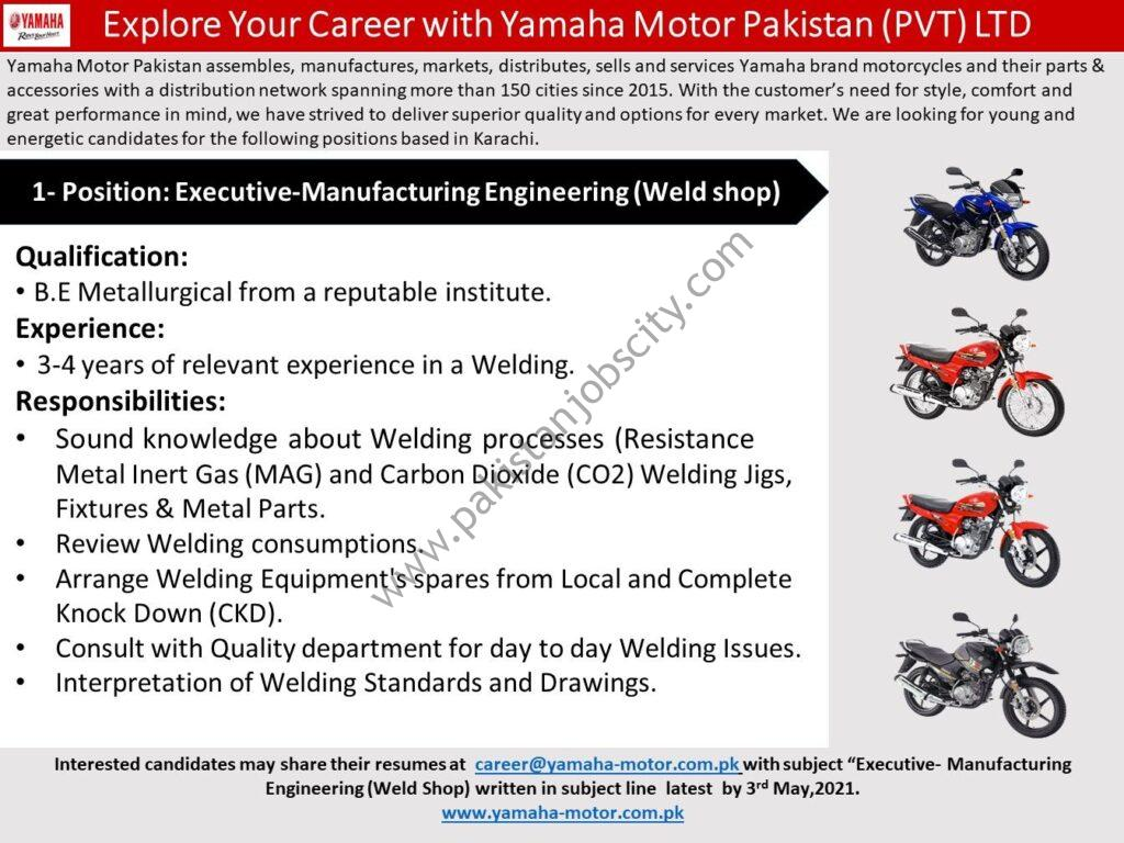 Yamaha Motor Pakistan Pvt Ltd Jobs Executive Manufacturing Engineering