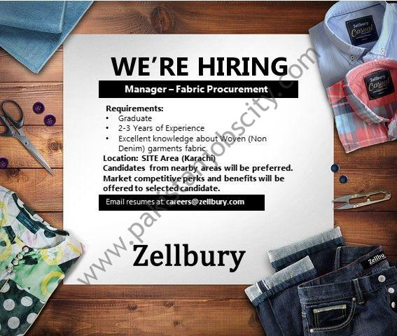 Zellbury Pakistan Jobs Manager Fabric Procurement