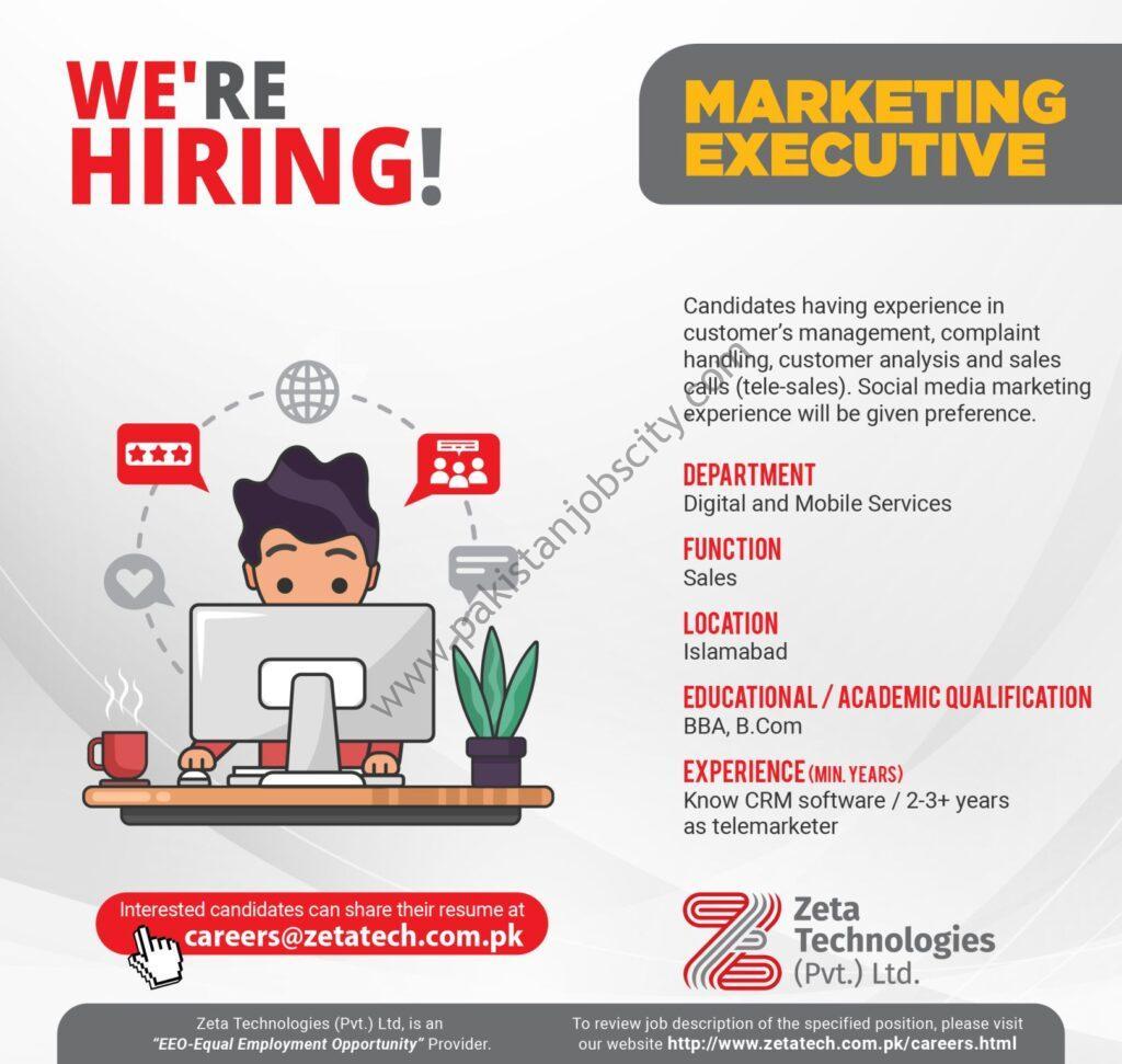 Zeta Technologies Pvt Ltd Jobs Marketing Executive
