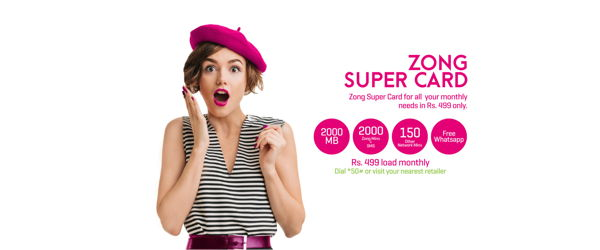 Zong Super Card Rs 500, 800, 2000 Package Details