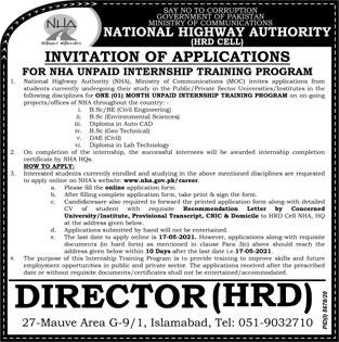 NHA New Internships 2021 Latest - Apply Online nha.gov.pk