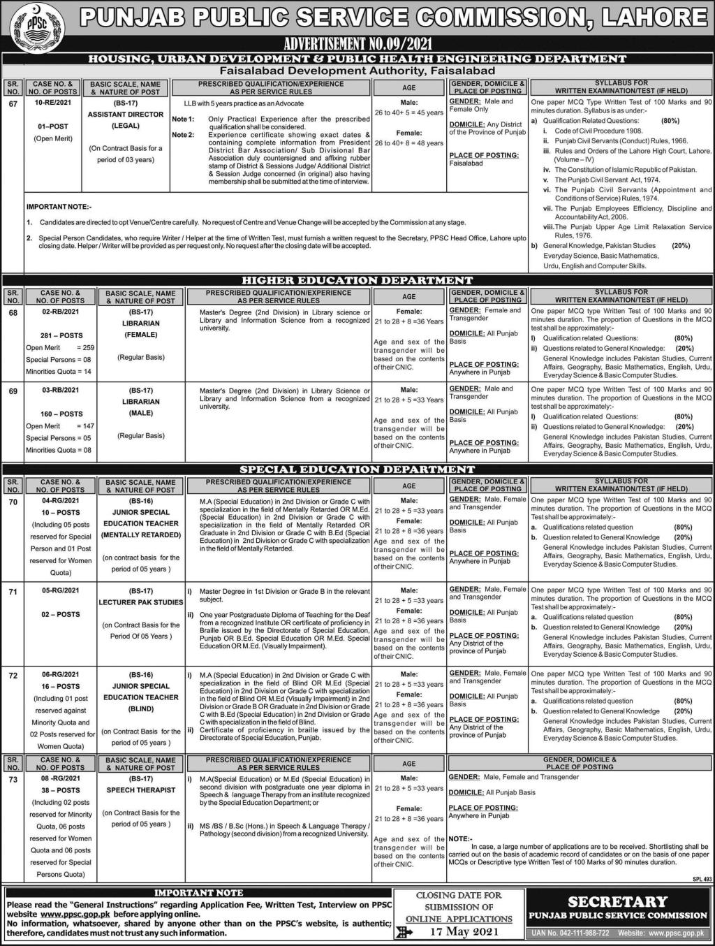 PPSC Jobs May 2021