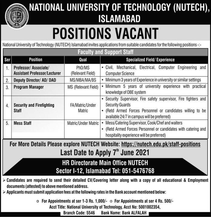 National University of Newtuch Islamabad Jobs May 2021