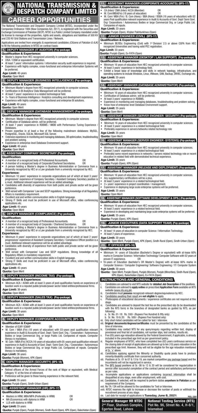 National Transmission and Dispatch Company Limited NTS Jobs 2021