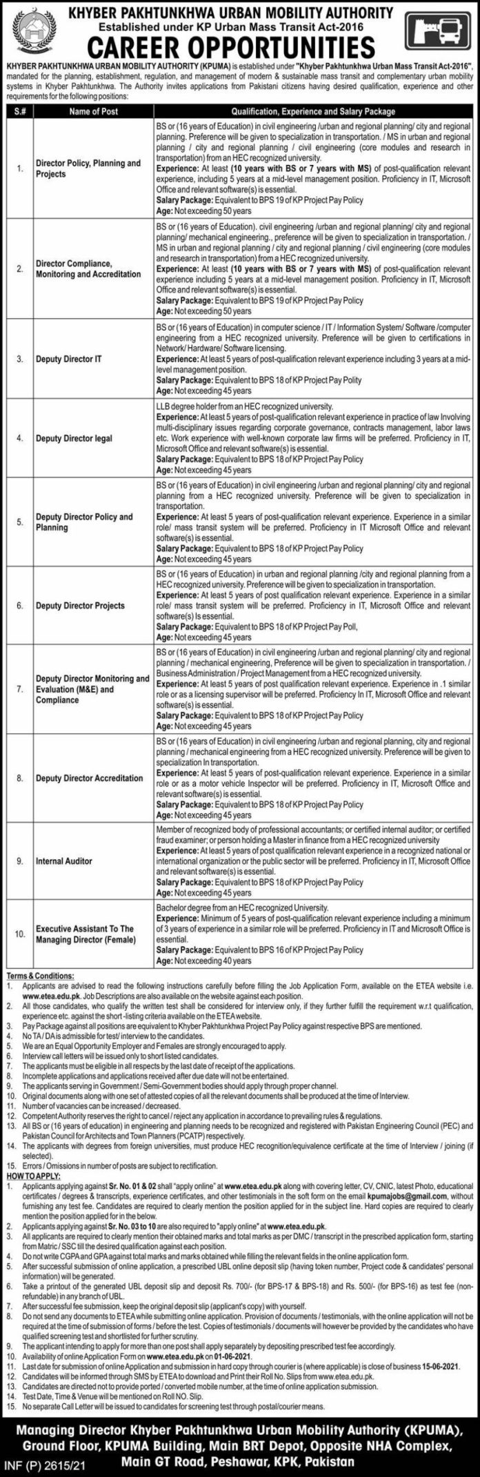 Khyber Pakhtunkhwa Urban Mobility Authority KPUMA Latest Jobs 2021