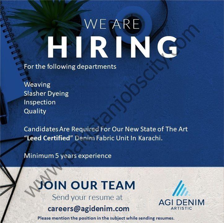 AGI Denim Artistic Jobs May 2021