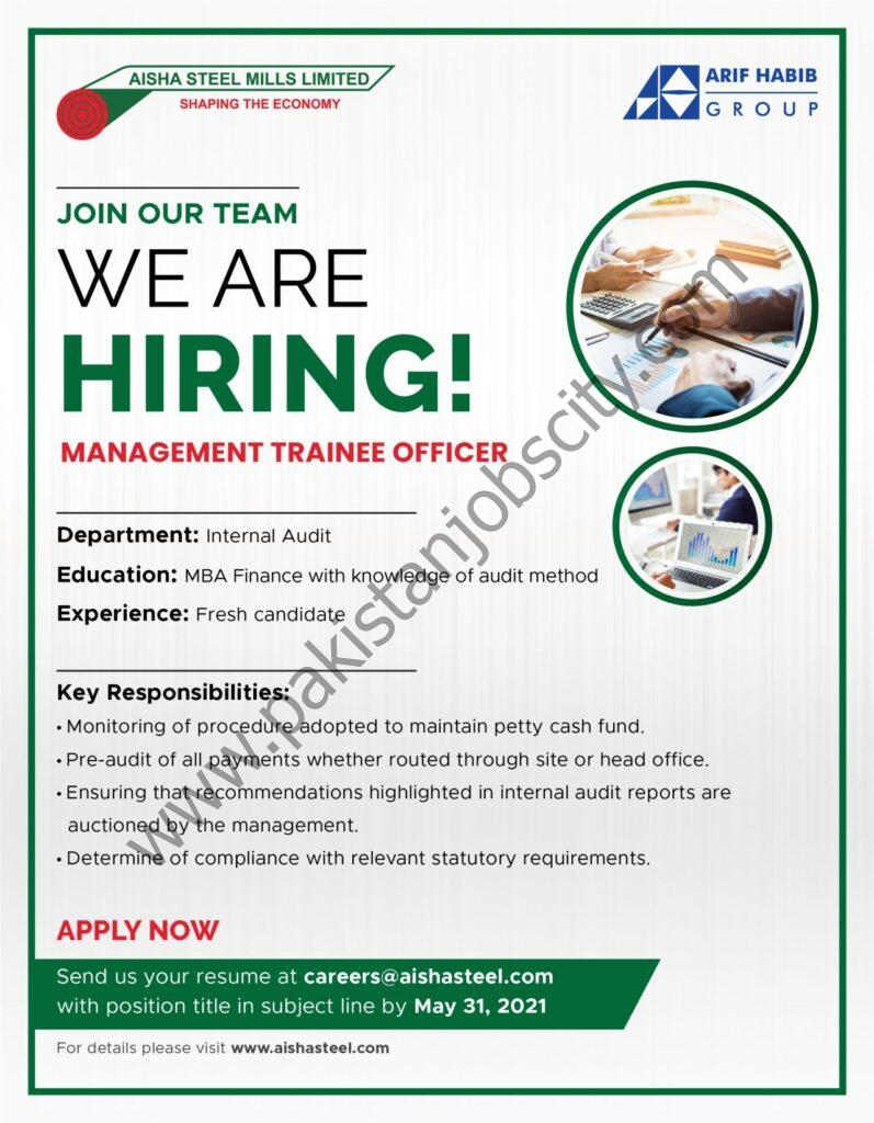 Aisha Steel Mills Ltd ASML Jobs Management Trainee Officer