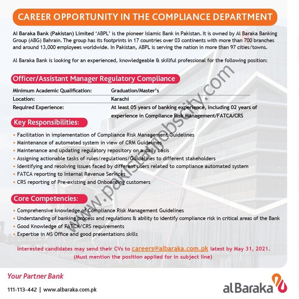 Al Baraka Bank Pakistan Ltd Jobs Officer/Assistant Manager Regulatory Compliance