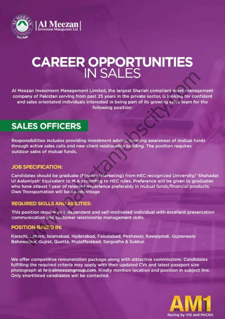Al Meezan Investment Management Ltd Jobs Sales Officer