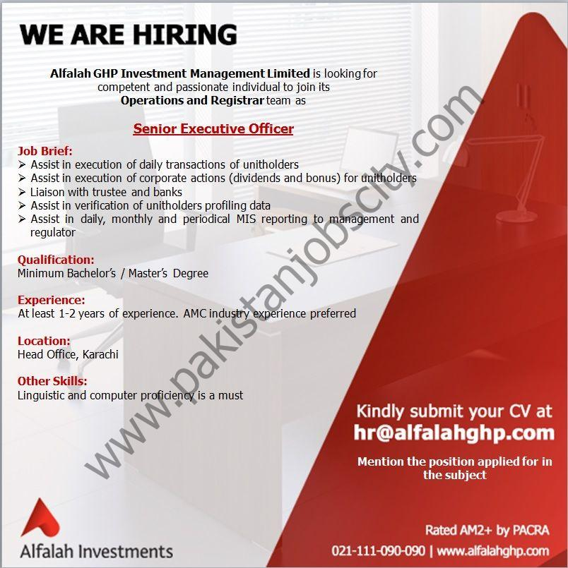 Alfalah GHP Investment Management Ltd Jobs Senior Executive Officer