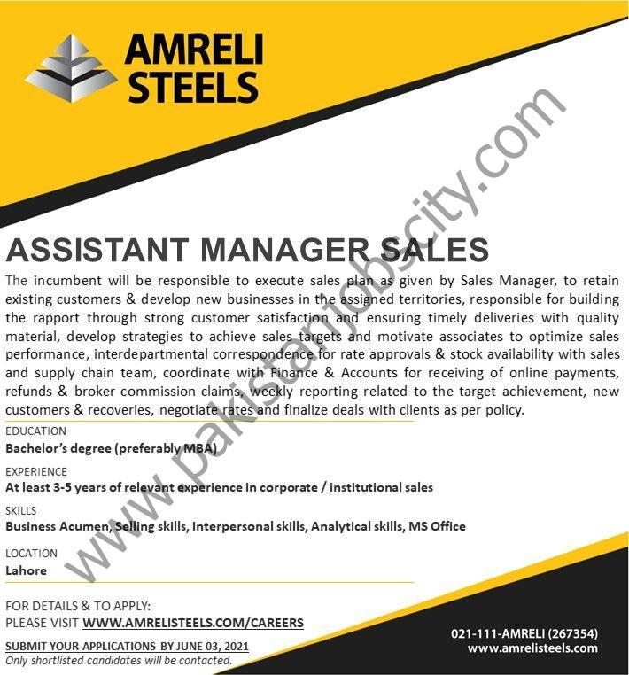 Amreli Steels Ltd Jobs Assistant Manager Sales