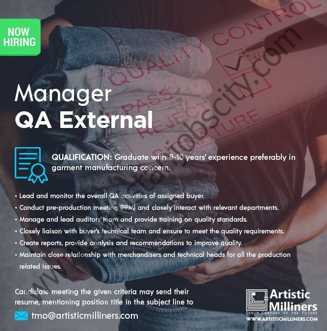 Artistic Milliners Pvt Ltd Jobs Manager QA External