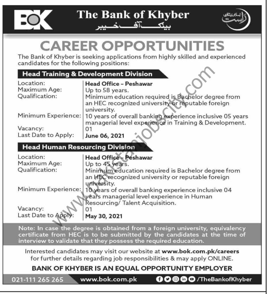 Bank Of Khyber BOK Jobs May 2021