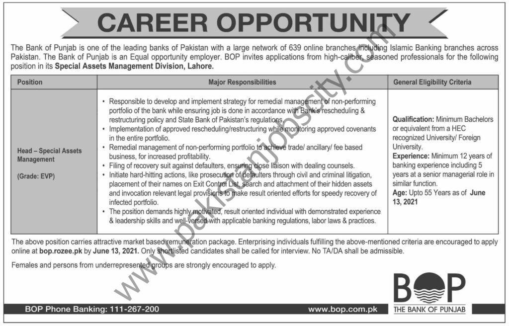 Bank of Punjab BOP Jobs Head - Special Assets Management