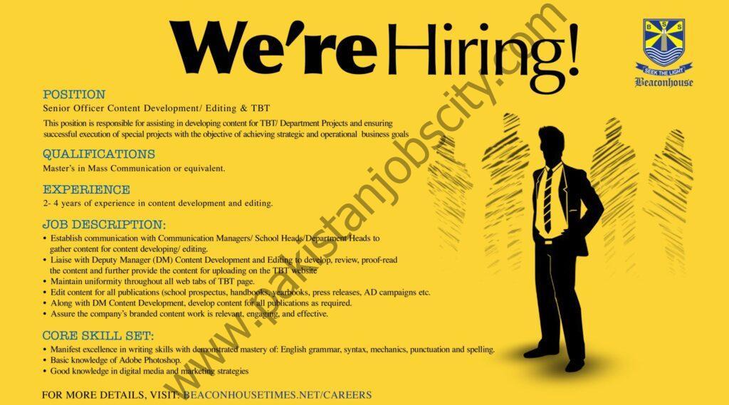 Beaconhouse Group Jobs Senior Officer Content Development/Editing & TBT