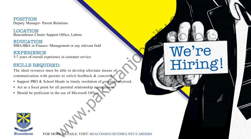 Beaconhouse Group Jobs Deputy Manager Parent Relations