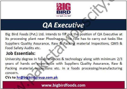 Big Bird Foods Pvt Ltd Jobs QA Executive