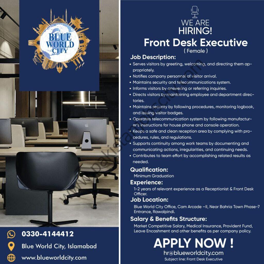 Blue World City Jobs Front Desk Executive