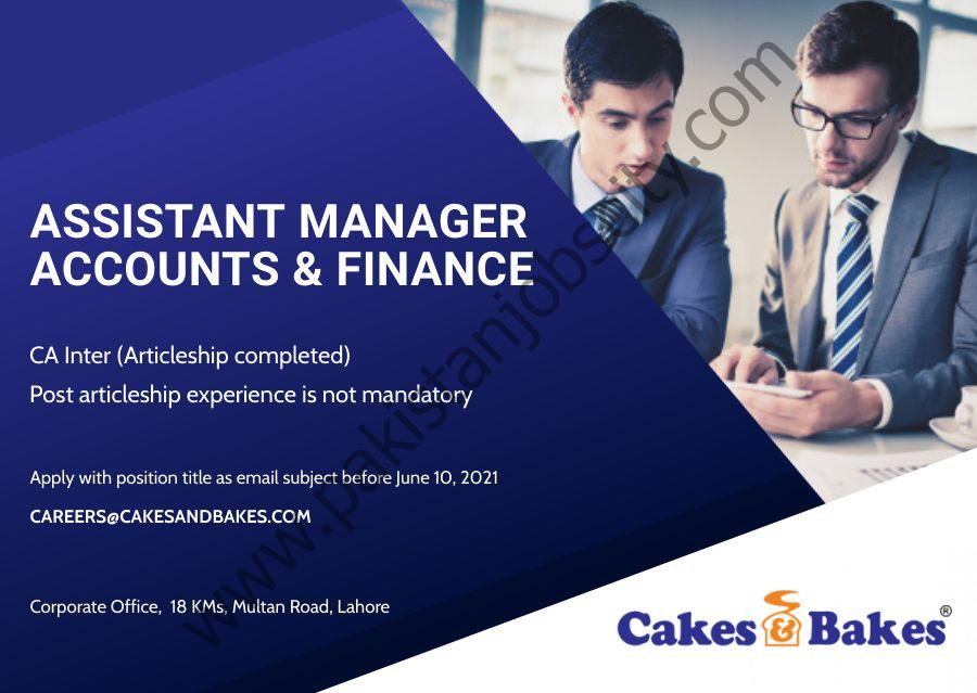 Cakes & Bakes Pakistan Jobs Assistant Manager Accounts & Finance
