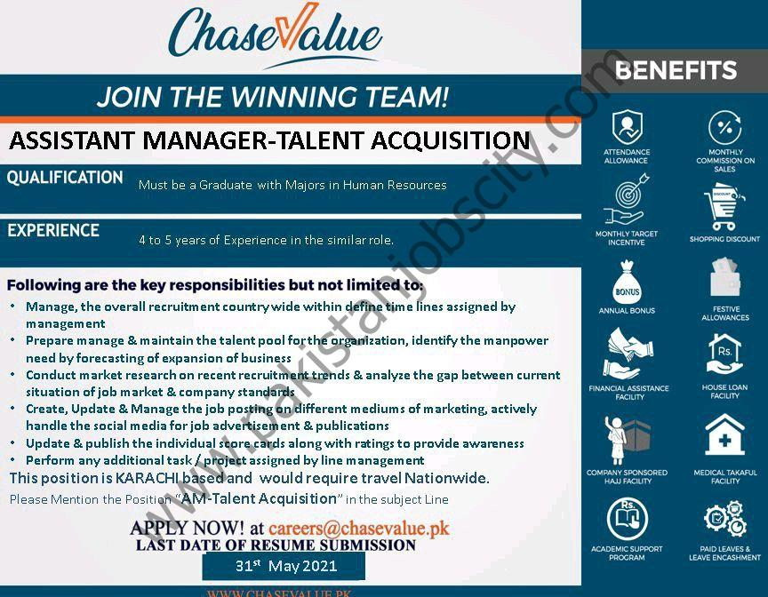 Chase Value Jobs Assistant Manager Talent Acquisition