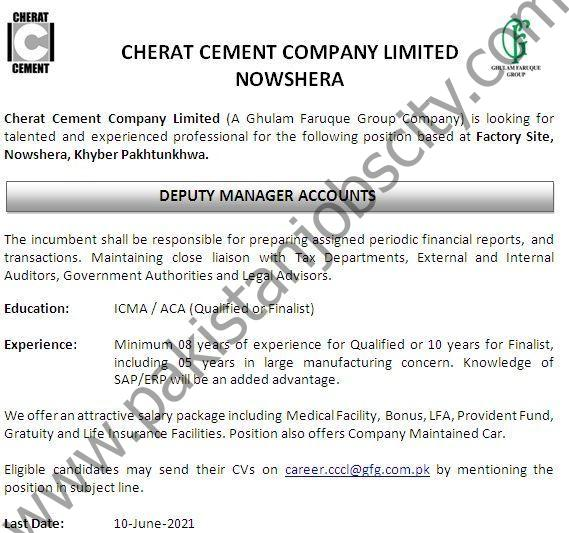 Cherat Cement Co Ltd Jobs Deputy Manager Accounts