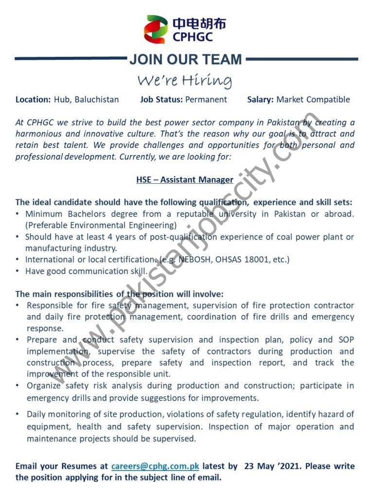 China Power Hub Generation Company Pvt Ltd Jobs Assistant Manager HSE