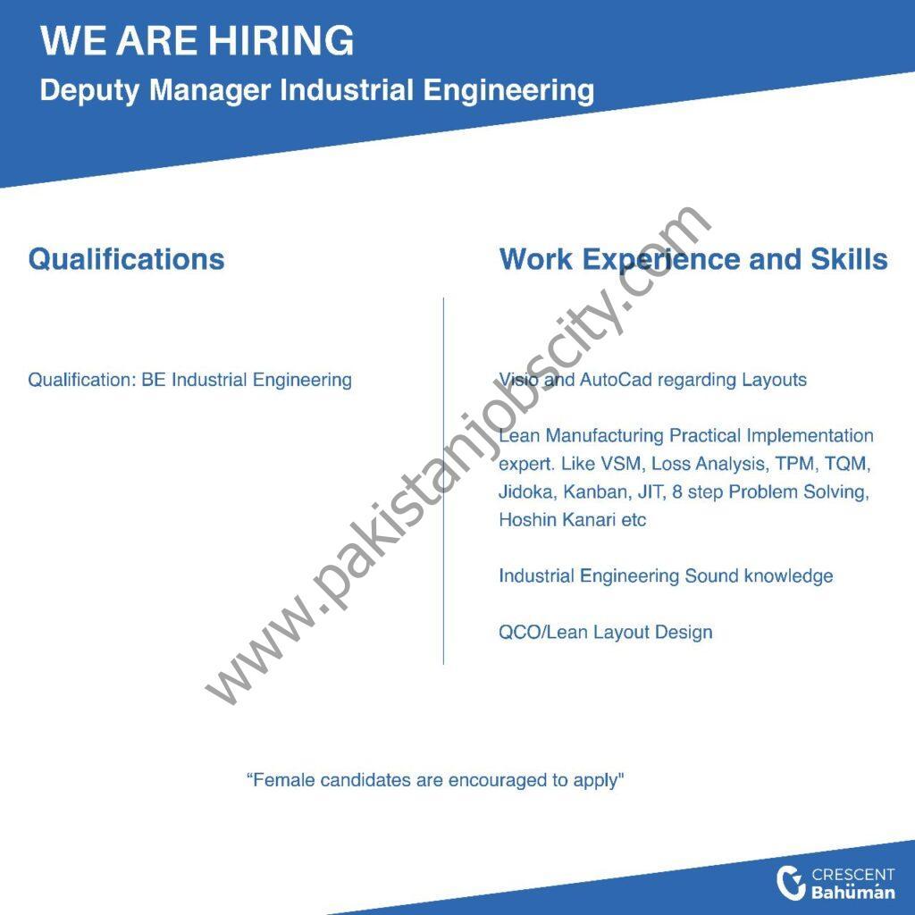 Crescent Bahuman Ltd Jobs Deputy Manager