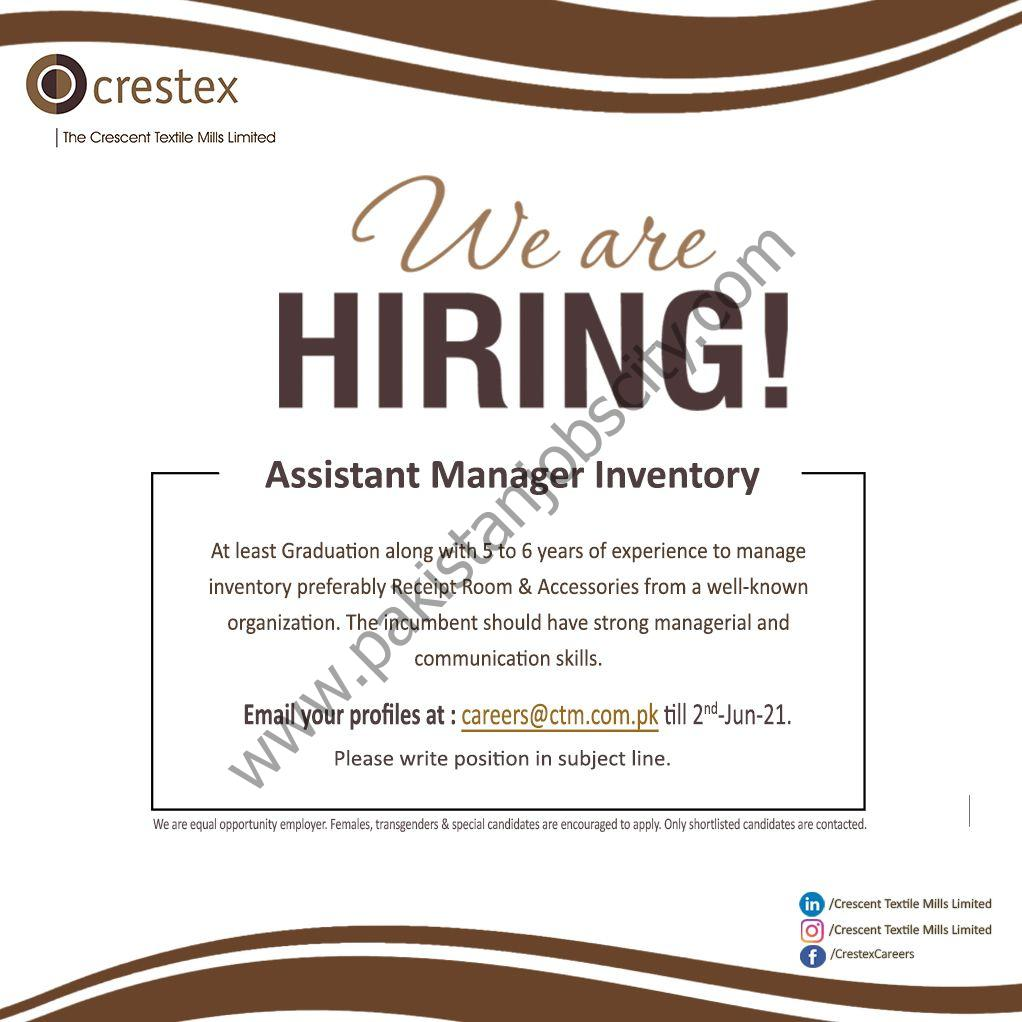 Crescent Textile Mills Limited CTM Jobs Assistant Manager Inventory