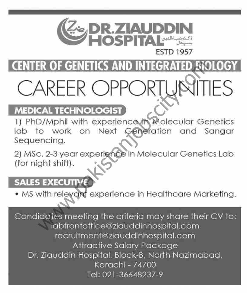 Dr Ziauddin Hospital Jobs May 2021