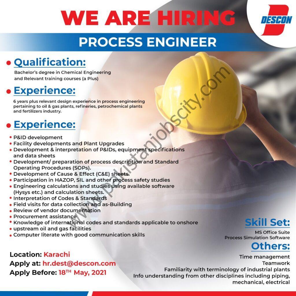 Descon Pakistan Jobs Process Engineer