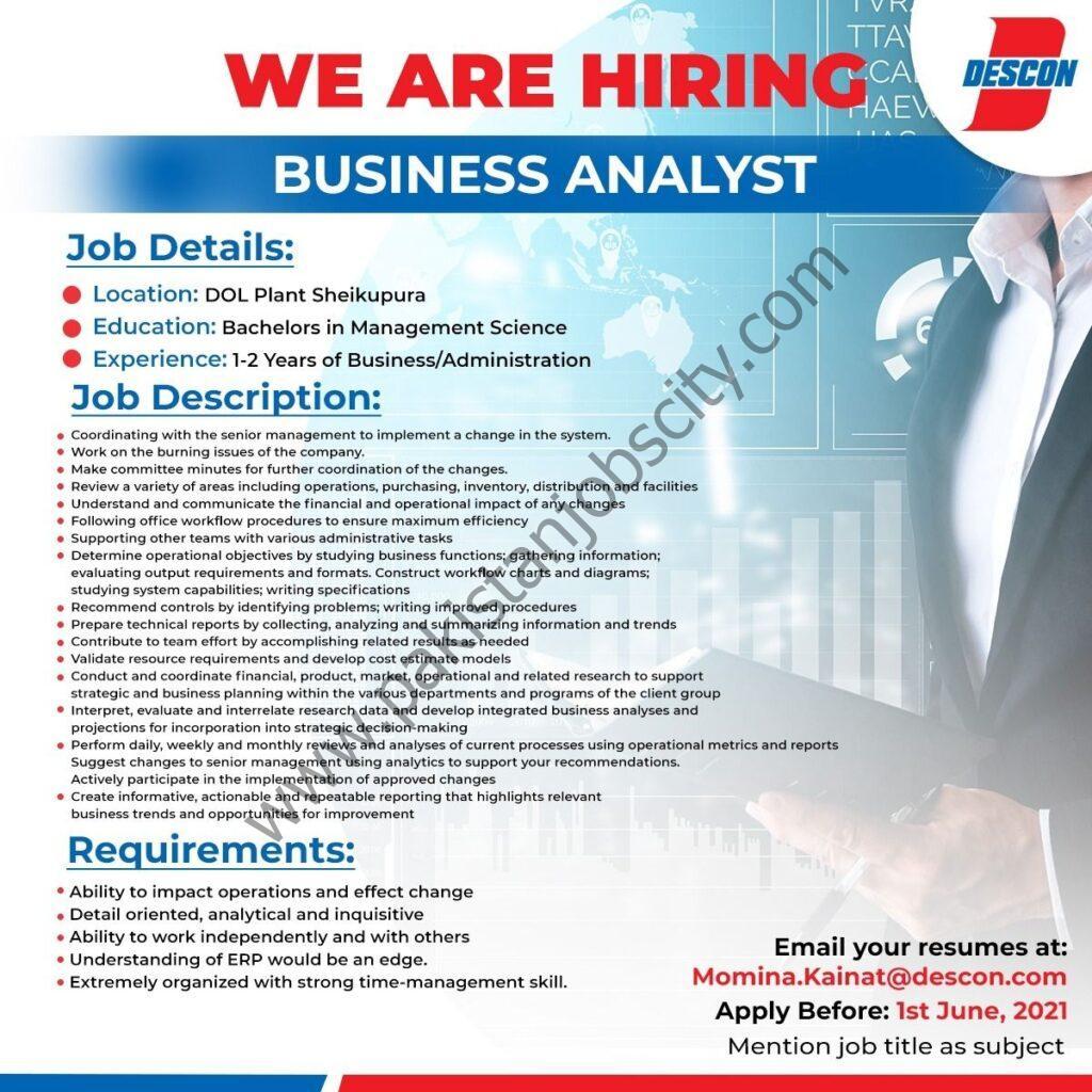 Descon Pakistan Jobs Business Analyst