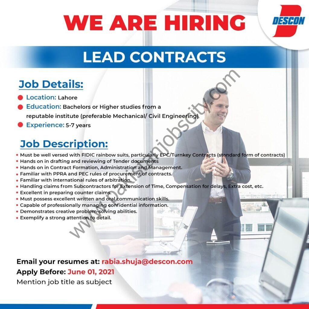 Descon Pakistan Jobs Lead Contracts