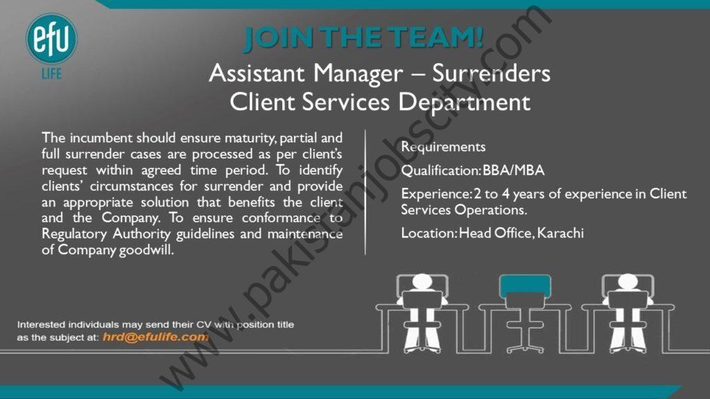 EFU Life Assurance Ltd Jobs Assistant Manager