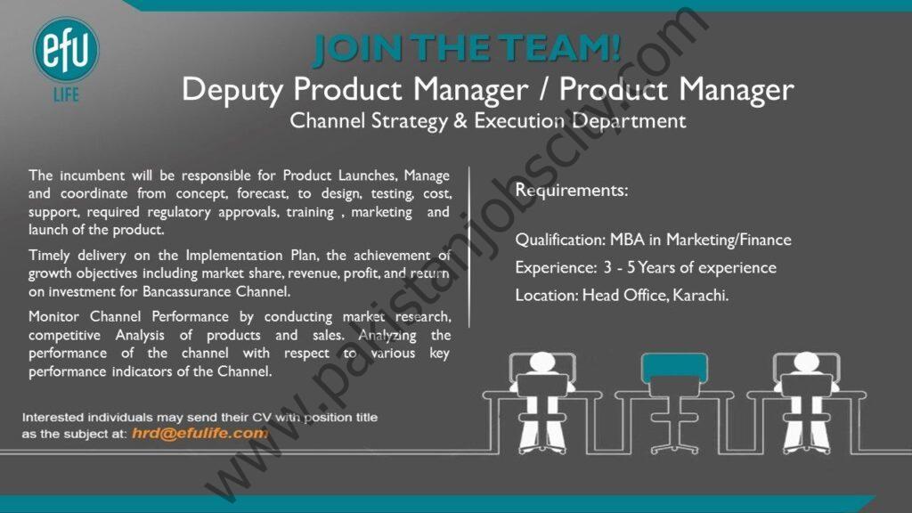 EFU Life Assurance Ltd Jobs Deputy Product Manager/Product Manager