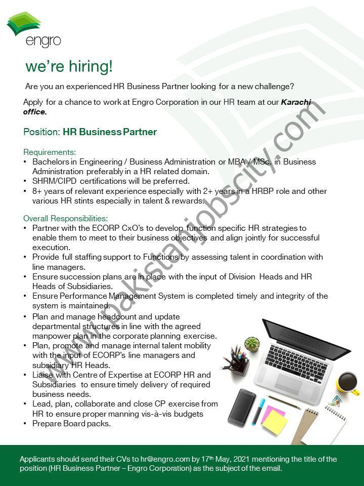 Engro Corporation Limited Jobs HR Business Partner