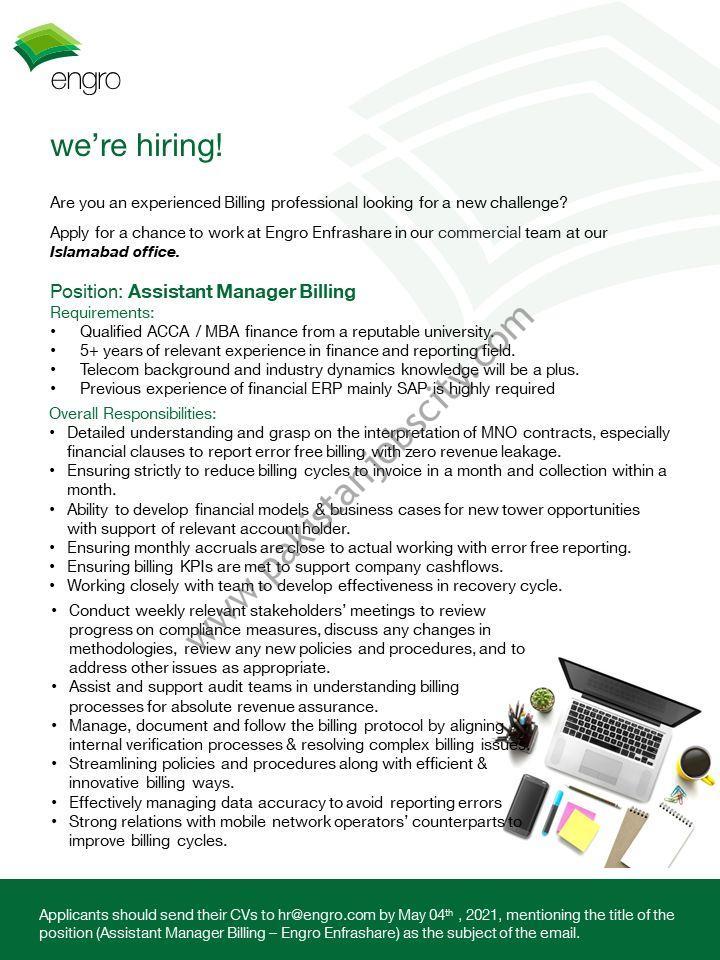 Engro Enfrashare Jobs Assistant Manager Billing