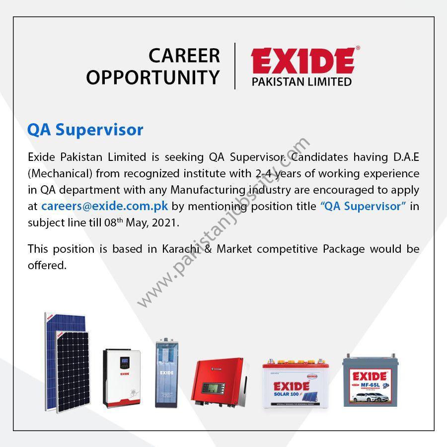 Exide Pakistan Ltd Jobs QA Supervisor