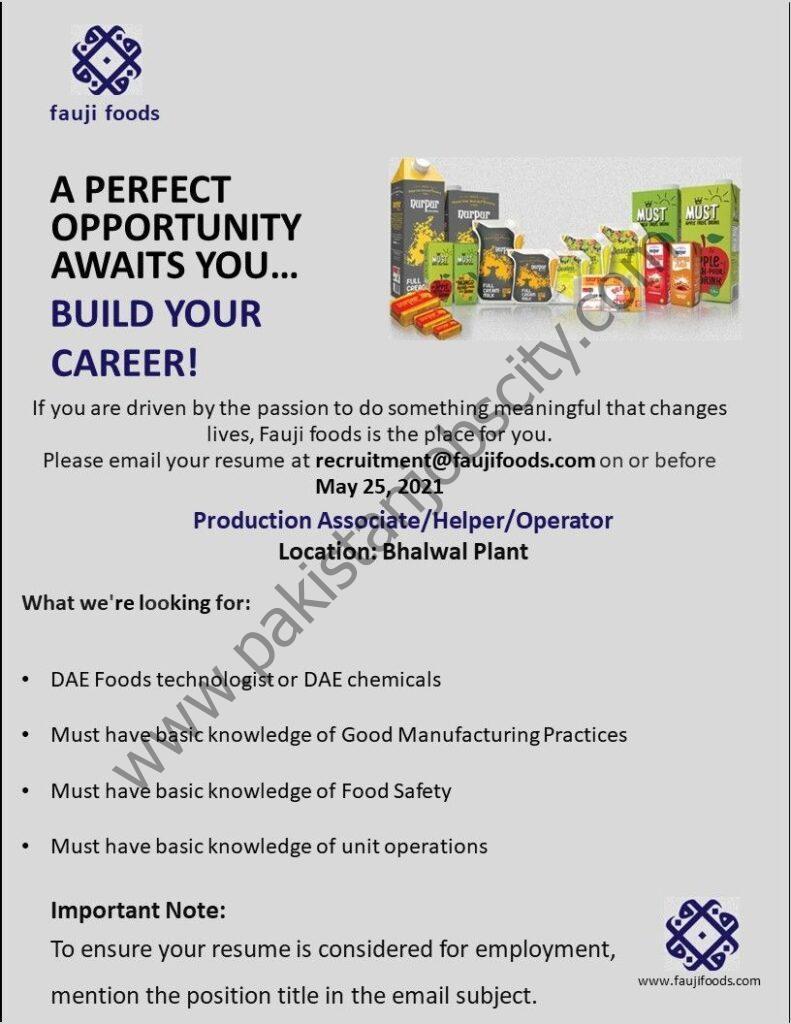 Fauji Foods Ltd Jobs Production Associate/Helper/Operator