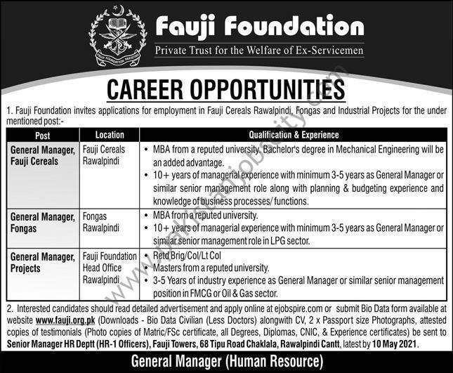 Fauji Foundation Jobs May 2021