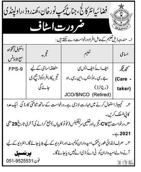 Jobs of Air Force Inter College Rawalpindi May 2021