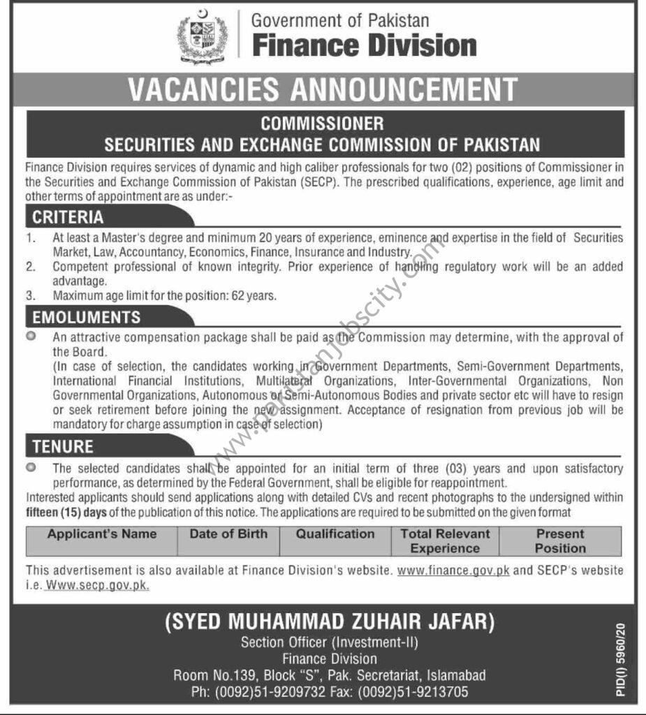 Govt of Pakistan Finance Division Jobs Commissioner