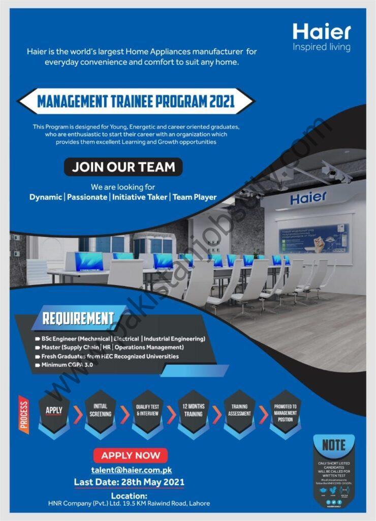 Haier Pakistan Jobs Management Trainee Program 2021